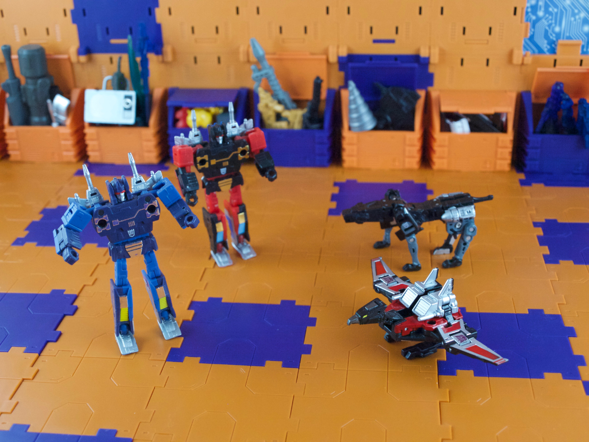 Masterpiece versions of Rumble, Lazerbeak, Frenzy and Ravage